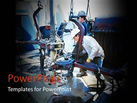 PowerPlugs: PowerPoint template with workmen on oil and gas drilling rig