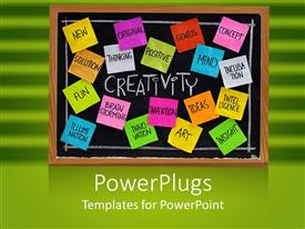 PowerPlugs: PowerPoint template with workplace business creativity chalkboard with sticky notes on green background