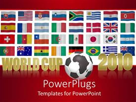 PowerPoint template displaying world Cup 2010 theme with flags of the world, red background