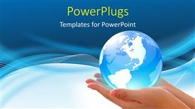 PowerPoint template displaying world in hand, global internet business concept
