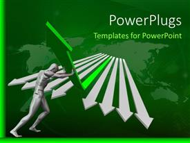 PowerPoint template displaying world map in background with 3D man lifting green arrow