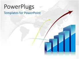 PowerPlugs: PowerPoint template with world map in background with blue bar charts