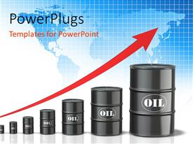 PowerPoint template displaying world map in background with red increasing arrow over oil barrels