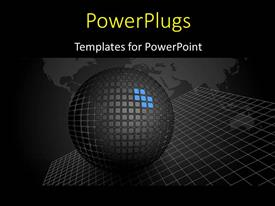 PowerPlugs: PowerPoint template with world map in background with stylish sphere on gridlines