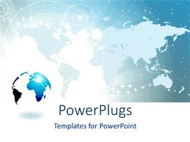 PowerPoint template displaying a world map behind a blue and white colored earth globe