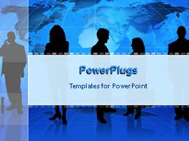 PowerPlugs: PowerPoint template with world map behind business moguls discussing
