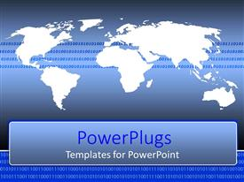 PowerPoint template displaying world map with binary codes on a blue background