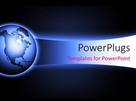 PowerPlugs: PowerPoint template with a world map on a black and blue colored background