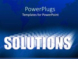 PowerPlugs: PowerPoint template with world map in blue background with text 'solution'
