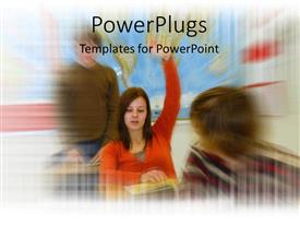 PowerPoint template displaying world map blurred in background with little girl in orange raising hands