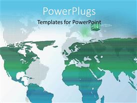 PowerPoint template displaying world map composition, green world map on a blue background