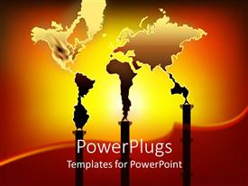 PowerPlugs: PowerPoint template with world map formed from smoke out of three factory chimneys