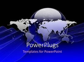 PowerPlugs: PowerPoint template with world map placed over globe, with blue color