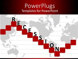 PowerPoint template displaying world map with red squares showing economic recession