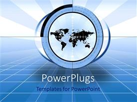 PowerPoint template displaying world map with target, blue 3D grid background