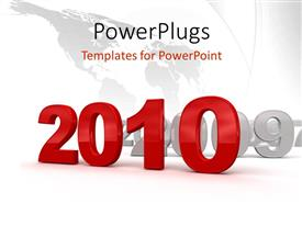 PowerPlugs: PowerPoint template with a world map with a text that spells out the word '2010 '
