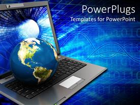 PowerPlugs: PowerPoint template with world sitting on top of laptop keyboard, binary background