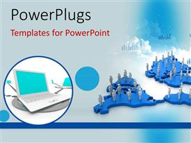 PowerPlugs: PowerPoint template with lots of white colored 3D characters standing on a map
