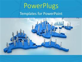 PowerPlugs: PowerPoint template with a blue world map with lots of people standing on them