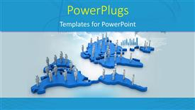 PowerPoint template displaying a blue world map with lots of people standing on them