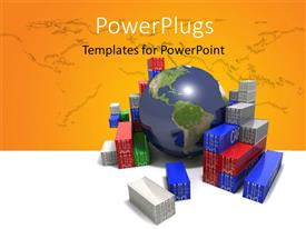 PowerPlugs: PowerPoint template with world trade concept - Globe surrounded by shipping containers