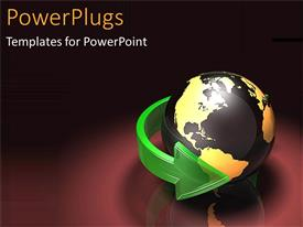 PowerPlugs: PowerPoint template with world turning global business outreach international work on a black background