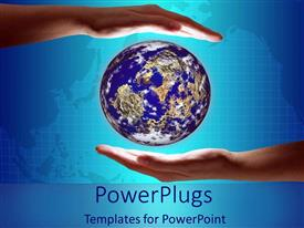 PowerPoint template displaying the world in two hands on blue background power globe direction