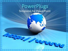 PowerPoint template displaying world wide web address with glowing blue and white world, Internet