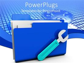 PowerPlugs: PowerPoint template with a wrench along with a folder with digital background