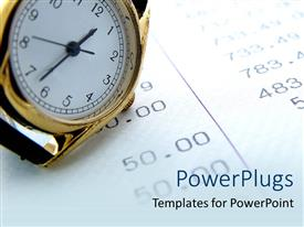 PowerPlugs: PowerPoint template with a wrist watch on a paper with lots of numbers
