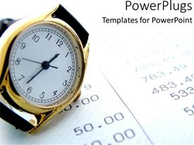 PowerPlugs: PowerPoint template with a wristwatch with financial report in the background
