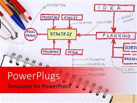 PowerPlugs: PowerPoint template with writing material with a strategy being made