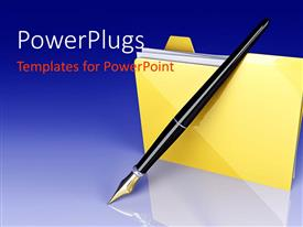 PowerPlugs: PowerPoint template with a pen and a folder with bluish background