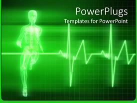 PowerPoint template displaying x-ray depiction of human anatomy running human body with heartbeat line on green background