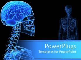 PowerPoint template displaying x-ray of the human head showing on black background.