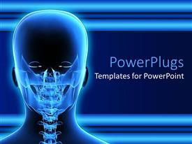 PowerPlugs: PowerPoint template with x-ray of human head taken from backside on blue background