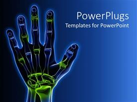 PowerPoint template displaying x-ray representation of human hand with skeletal system and green and blue highlighted joints on gradient blue background