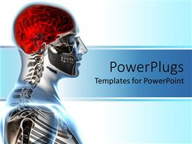 PowerPlugs: PowerPoint template with x-ray showing human anatomy and red brain on bright background