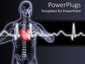 PowerPoint template displaying x-ray vision of man with red heart and pulses showing
