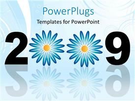 PowerPoint template displaying year 2009 with flower decoration