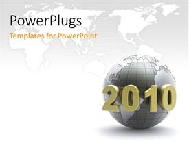 PowerPlugs: PowerPoint template with year 2010 on 3D Globe, with world map