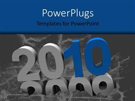 PowerPoint template displaying year 2010 versus 2009, with grey color