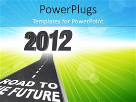 PowerPlugs: PowerPoint template with a road with some text and '2012' figures over it