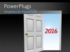 PowerPoint template displaying year 2016 in red outside the door with sky in the background