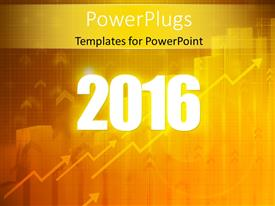 PowerPoint template displaying year 2016 in white over business background with arrows and financial graphs and charts