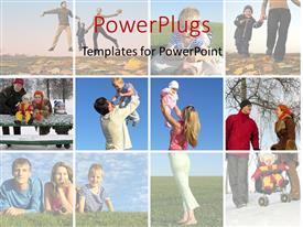 PowerPlugs: PowerPoint template with collage of happy family at different times of the year