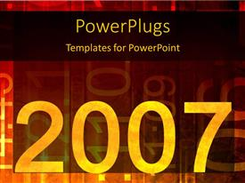 PowerPoint template displaying yellow 2007 and numbers on dark background with yellow orange and red