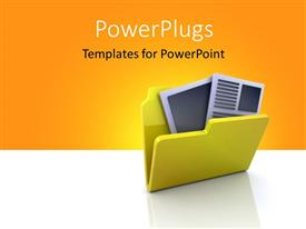 PowerPlugs: PowerPoint template with yellow 3D folder icon with documents inside over yellow and white background