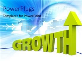 PowerPlugs: PowerPoint template with yellow 3D growth rendering with upward arrow over digital world map