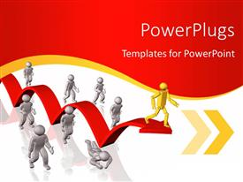 PowerPoint template displaying yellow 3D man on red arrow stands out from crowd